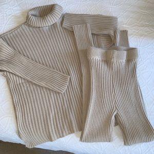 2 piece ribbed sweater pants set